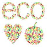 Vektorillustration des Herzens, Apfel Eco-Konzept mit Elementen von Früchten Stockbilder