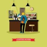 Vektorillustration des Kaffeehausdesigns mit barista und Besucher Stockfotos