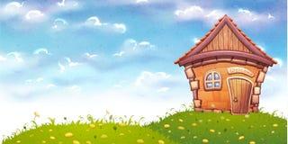 Vektorillustration des Karikaturhauses auf Wiese Lizenzfreie Stockfotografie