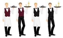 Vektorillustration des Kellners mit Behälter Stockfotografie