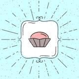 Vektorillustration des kleinen Kuchens Übergeben Sie gezogenes Hippie-Plakat mit Sonnendurchbrüchen und Weinleserahmen Lizenzfreies Stockfoto