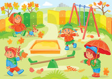 Vektorillustration des Kleinkindspielens Lizenzfreie Stockbilder