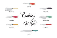 Vektorillustration des Kochens von den Messern eingestellt Lizenzfreie Stockfotografie