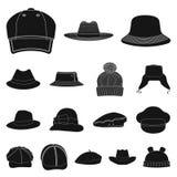 Vektorillustration des Kopfbedeckungs- und Kappensymbols Satz des Kopfbedeckungs- und Zusatzaktiensymbols für Netz stock abbildung