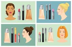 Vektorillustration des Kosmetiksatzes Stockbilder