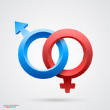 Vektorillustration des männlichen und weiblichen Symbols Lizenzfreies Stockfoto