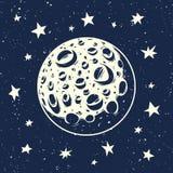 Vektorillustration des Mondes und der Sterne Stockfotos