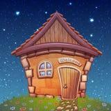 Vektorillustration des Nachtkarikaturhauses an Stockfotos