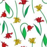 Vektorillustration des nahtlosen Musters der bunten Tulpen Lizenzfreie Stockfotos
