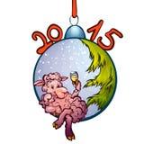 Vektorillustration des Pelzbaumspielzeugs mit lustigem Lizenzfreies Stockfoto