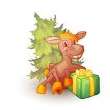 Vektorillustration des Pferds mit Geschenk und Stockfotografie
