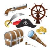 Vektorillustration des Piratenikonensatzes lokalisiert auf einem weißen Hintergrund Stockfoto