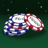 Vektorillustration des Pokerrotes und -blauer Spielmarken Lizenzfreie Stockbilder