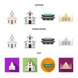 Vektorillustration des Religions- und Hochzeitslogos Stellen Sie von der Religion und von der Hausvektorikone f?r Vorrat ein stock abbildung