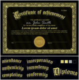 Vektorillustration des Schwarzweiss-Zertifikats Lizenzfreie Stockfotografie