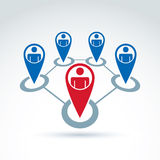 Vektorillustration des Sozialen Netzes, Begriffsführung und te Lizenzfreies Stockbild