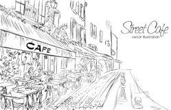 Vektorillustration des Straßencafés Lizenzfreie Stockfotos