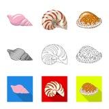 Vektorillustration des Tier- und Dekorationssymbols Stellen Sie vom Tier- und Ozeanaktiensymbol f?r Netz ein vektor abbildung
