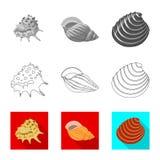 Vektorillustration des Tier- und Dekorationszeichens Sammlung der Tier- und Ozeanvorratvektorillustration lizenzfreie abbildung