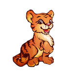 Vektorillustration des Tigers in der Karikaturart Lizenzfreies Stockbild