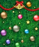 Vektorillustration des verzierten Weihnachtsbaums Lizenzfreie Stockfotografie