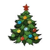 Vektorillustration des verzierten Weihnachtsbaums Stockfotos