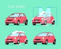 Vektorillustration des Waschanlagekonzeptes Waschender Autoprozessservice, rotes Auto in der Seife und Wasser auf grünem Hintergr lizenzfreie abbildung