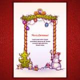 Vektorillustration des Weihnachtstors mit Schneemann Lizenzfreies Stockfoto
