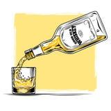 Vektorillustration des Whiskys und des Glases Lizenzfreies Stockfoto