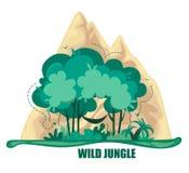 Vektorillustration des wilden Dschungels, der Bäume, der Büsche und der Berge Symbol oder Logo auf einem weißen Hintergrund vektor abbildung