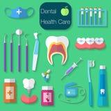 Vektorillustration Design des Zahnpflegen flache mit Zahnseide, Zähne, Mund, Zahnpasta und Bürste, Medizin, Spritze und Zahnarzt Stockfotos