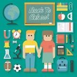 Vektorillustration: Dra tillbaka till skolalägenhetsymboler uppsättningen Royaltyfri Bild