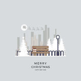 Vektorillustration ein Weihnachten von Stadtbild Winterhintergrundpark in der Karikaturart stockbilder