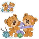 Vektorillustration einer braunen Teddybärbindung ein gestrickter Schal auf dem Hals eines anderen Teddybären Stockfoto