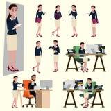 Vektorillustration in einer flachen Art der Bürogehaltsfrau in Arbeitsuniform Viel Aktion der glücklichen Frau lizenzfreie abbildung