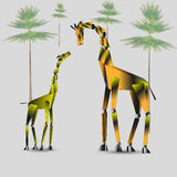 Vektorillustration einer Giraffenfamilie Stockbilder