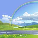 Vektorillustration einer hügeligen Landschaft Lizenzfreie Stockfotos