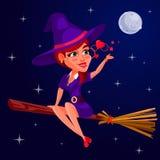 Vektorillustration einer Hexe des jungen Mädchens Stockbild