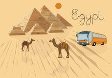 Vektorillustration einer Reise nach Ägypten Zu den Ausflug in einem Reisebüro annoncieren Kairo, Pyramiden, Kamele in der Wüste vektor abbildung