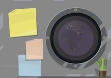Vektorillustration eines Desktops auf einem Raumschiff, graue Metallwand mit mehrfarbigen Aufklebern, das Bild der Planet Erde in stock abbildung