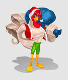Vektorillustration eines Hahns - Santa Claus Lizenzfreie Stockfotos