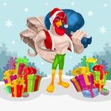 Vektorillustration eines Hahns - Santa Claus Lizenzfreie Stockbilder