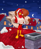 Vektorillustration eines Hahns - Santa Claus Lizenzfreies Stockfoto