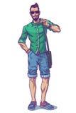 Vektorillustration eines modernen Kerls Stockfotos