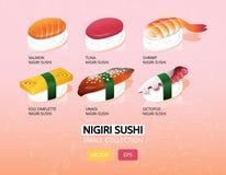 Vektorillustration eines nigiri Sushisatzes Japanische Nahrung Veränderungsikonensammlung Lizenzfreie Stockfotos