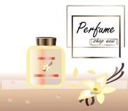 Vektorillustration eines realistischen Artparf?ms in einer Glasflasche auf einem Hintergrund mit luxuri?ser Blume gro? stock abbildung