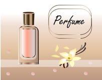 Vektorillustration eines realistischen Artparf?ms in einer Glasflasche auf einem Hintergrund mit luxuri?ser Blume gro? vektor abbildung