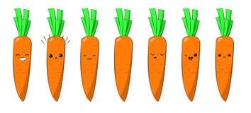 Vektorillustration eines vektorzeichensatzes der netten Karikatur der Karotte Gemüselokalisiert auf Weiß gefühle aufkleber vektor abbildung
