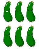 Vektorillustration eines vektorzeichensatzes der netten Karikatur der Zucchini Gemüselokalisiert auf Weiß gefühle aufkleber lizenzfreie abbildung