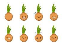 Vektorillustration eines vektorzeichensatzes der netten Karikatur der Zwiebel Gemüselokalisiert auf Weiß gefühle aufkleber lizenzfreie abbildung